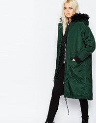 Monki Parka With Faux Fur Hood Khaki