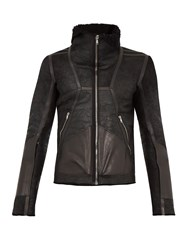 Rick Owens Shearling Lined Leather Jacket Black