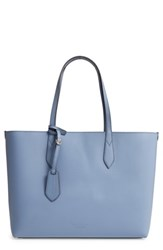 Burberry Medium Reversible Check And Leather Tote Blue Slate Blue