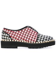 Suecomma Bonnie Houndstooth Pattern Loafers Red