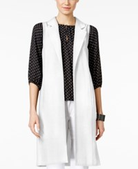 Vince Camuto Open Front Long Vest New Ivory