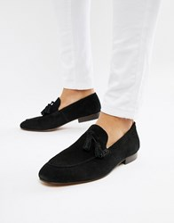 Hudson H By Bolton Tassel Loafers In Black Suede