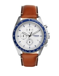 Fossil Sport 54 Stainless Steel Brown Leather Strap Chronograph Silver