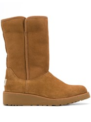 Ugg Australia Low Heel Shearling Boots Brown