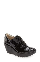 Fly London Women's 'Yumi' Lace Up Platform Wedge Black Patent Leather