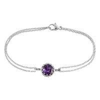 London Road Bloomsbury 9Ct White Gold Chequer Cut Amethyst Coronation Bracelet