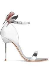 Sophia Webster Maya Bow Embellished Metallic Leather Sandals Silver