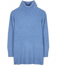 Polo Ralph Lauren Flora Cashmere And Wool Blend Turtleneck Sweater Blue