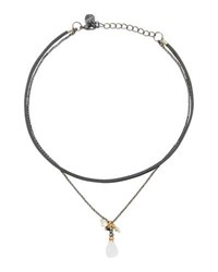 Nakamol Double Strand Leather And Quartz Choker Necklace White