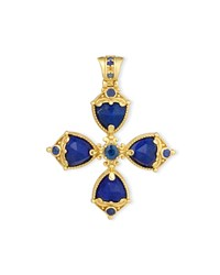 Flamenco Lapis And Blue Sapphire Cross Pendant Konstantino