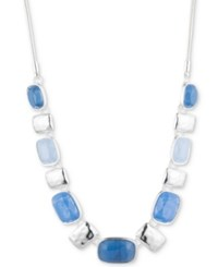 Nine West Multi Stone Statement Necklace 16 3 Extender Blue
