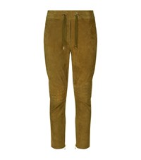 Balmain Quilted Suede Joggers Female Green