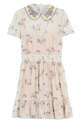 Red Valentino Printed Silk Dress With Collar Beige