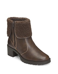 Aerosoles Boldness Faux Shearling Leather Boots Dark Brown