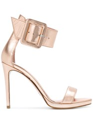 Anna F. Wide Ankle Strap Sandals Pink And Purple