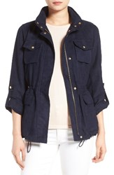 Vince Camuto Women's Faux Suede Utility Jacket Navy