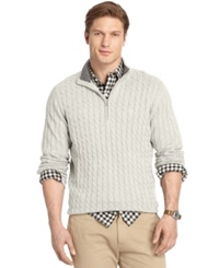 Izod Big And Tall Cable Knit Quarter Zip Sweater Cream Heather