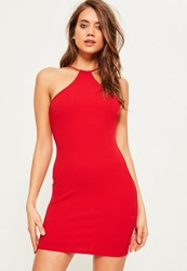 Missguided Red Racer Neck Bodycon Dress