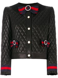 Gucci Quilted Jacket With Web Bows Women Silk Cotton Calf Leather Viscose 44 Black
