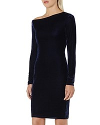 Reiss Xeni Asymmetric Velvet Dress Midnight