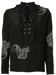 Dodo Bar Or Front Lace Up Detail Blouse Women Silk 44 Black