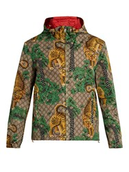 Gucci Tiger Print Hooded Jacket Beige Multi