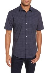 Zachary Prell Men's Tennant Slim Fit Dot Print Sport Shirt Navy