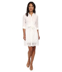 Nydj Josie Eyelet Cotton Voile Shirt Dress Optic White Women's Dress