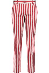 Dolce And Gabbana Striped Cotton And Silk Blend Slim Leg Pants Red