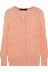 Marc By Marc Jacobs Rose Open Knit Cotton Blend Cardigan Peach