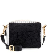 Kenzo Kombo Leather And Fabric Crossbody Bag Multicoloured