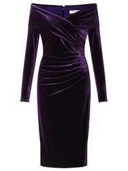 Jacques Vert Velvet Bardot Cocktail Dress Purple