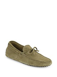 Tod's Suede Tie Moccasins Olive