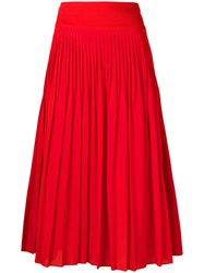Givenchy High Waisted Pleated Skirt Red