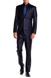 Ike Behar Navy Two Button Notch Lapel Wool Suit Blue