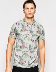 Only And Sons Polo Shirt With All Over Floral Print Light Grey Marl
