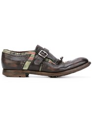 Church's Tartan Monk Shoes Men Calf Leather Leather Rubber 6 Brown