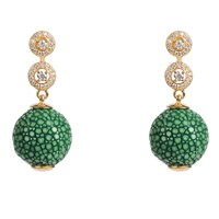 Latelita London Stingray Ball Earring With Zircon Emerald Green Jade Gold Green