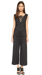 Thakoon Drawstring Lace Jumpsuit Charcoal