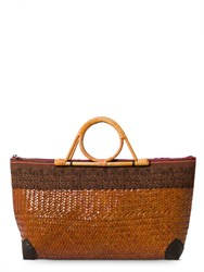 East Wicker Embroidered Bag Brown