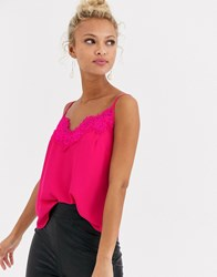 Lipsy Lace Trim Cami Top In Pink
