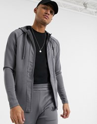 Sik Silk Siksilk Zip Through Hoodie With Nylon Panel In Grey