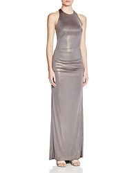 Nicole Miller Sleeveless Ruched Gown Moonrock