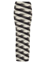 Stella Mccartney Striped Sheer Knit Maxi Skirt Navy White