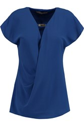 Halston Wrap Effect Draped Stretch Crepe Top Blue