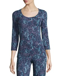 Cosabella Concorde Printed 3 4 Sleeve Lounge Top Women's