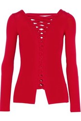 Bailey 44 Kabuki Lace Up Stretch Jersey Top Red