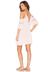 Lucca Couture Cold Shoulder Lace Up Back Gauze Dress Pink