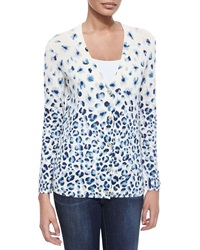 Tory Burch Printed V Neck Button Front Cardigan