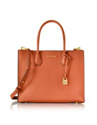 Michael Kors Mercer Large Orange Pebble Leather Convertible Tote Bag
